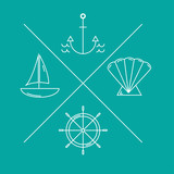 Nautical logos or emblems in moden thin line style