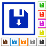 Move down file flat framed icons - 237349778