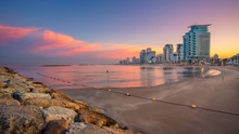 "Постер, картина, фотообои ""Tel Aviv Skyline. Cityscape image of Tel Aviv, Israel during sunrise."""