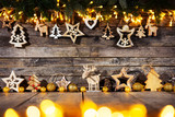 Christmas rustic background with wooden decoration - 237361301