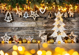 Christmas rustic background with wooden decoration - 237361330
