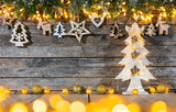 Christmas rustic background with wooden decoration - 237361350