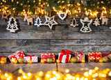 Christmas rustic background with wooden decoration - 237361385