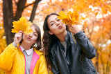 Pretty woman and teen girl are posing with bunch of maple's leaves in autumn park. They are training for kiss. Beautiful landscape at fall season. - 237366177