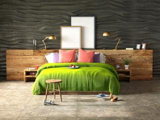 bedroom interior in green color 3d illustration