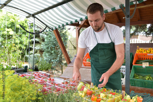 Leinwanddruck Bild Gardener at the sales counter for fruit and vegetables fresh after the harvest from the grower