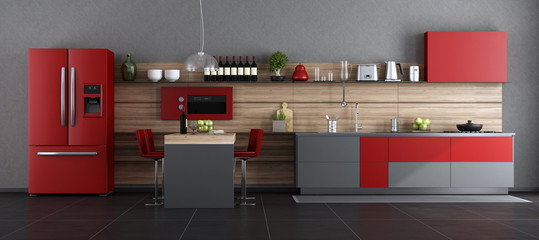 Red and gray contemporary kitchen © archideaphoto