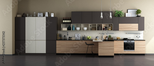 Leinwanddruck Bild Modern kitchen with full accessories