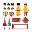 Chinese new year traditional folk holiday set
