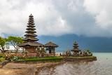 Pura Ulun Danu Beratan in cloudy day, famous temple on the lake, Bedugul, Bali, Indonesia. - 237379979