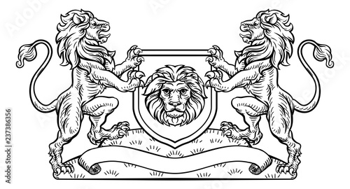 A medieval heraldic coat of arms emblem featuring rampant lion animal supporters flanking a shield charge in a vintage woodblock style.