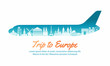 europe landmark inside with plane shape,concept art  silhouette style,vector illustration,green blue gradient - 237388182