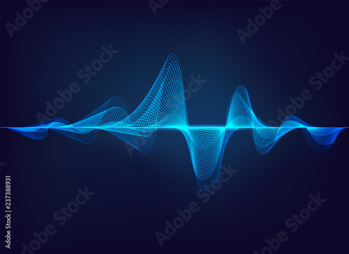 abstract digital green blue equaliser, sound wave pattern element