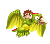 Cartoon dinosaur pterodactyl and caveman flying on his back - on white background - illustration for children - 237389594