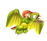 Cartoon dinosaur pterodactyl and caveman flying on his back - on white background - illustration for children - 237389596