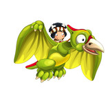 Cartoon dinosaur pterodactyl and caveman flying on his back - on white background - illustration for children - 237389599