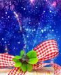 Leinwandbild Motiv Lucky clover, New Year's Eve sky with fireworks