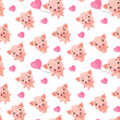 Seamless pattern of cute pigs with emotions of joy and happiness. Symbol of the year 2019. Nice wrapping paper or textile repeatable print. - 237393193