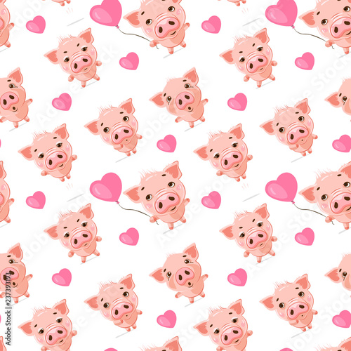 Seamless pattern of cute pigs with emotions of joy and happiness. Symbol of the year 2019. Nice wrapping paper or textile repeatable print.