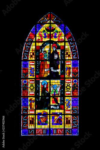 Fougères. Vitrail de l'église Saint Léonard. Ille et Vilaine. Bretagne. France