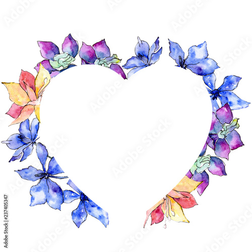 Purple, yellow and white orchid flower. Watercolor background illustration set. Frame border ornament heart. - 237405347