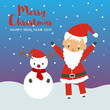 merry christmas and happy new year with santa claus and snowman, cute character design on holiday card, vector - 237406599