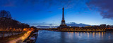 Eiffel Tower and  Seine River banks in early morning light. Panoramic view in Paris, France © Francois Roux
