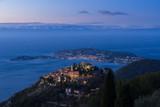Sunrise on the Village of Eze (Èze), the Mediterranean Sea and Saint-Jean-Cap-Ferrat. Alpes-Maritimes, French Riviera, France - 237408588