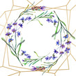 Purple lavender flowers. Watercolor background. Gold crystal frame border. Stone polyhedron mosaic shape.