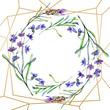Quadro Purple lavender flowers. Watercolor background. Gold crystal frame border. Stone polyhedron mosaic shape.