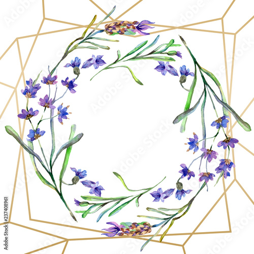 Purple lavender flowers. Watercolor background. Gold crystal frame border. Stone polyhedron mosaic shape. - 237408961