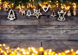Christmas rustic background with wooden decoration - 237413712