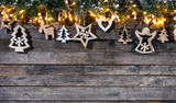 Christmas rustic background with wooden decoration - 237413735
