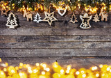 Christmas rustic background with wooden decoration - 237413776