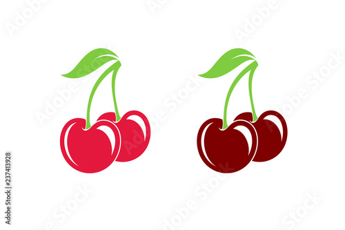 Cherry. Fresh berries on white background - 237413928