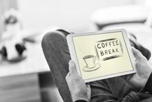 "Постер, картина, фотообои ""Coffee break concept on a tablet"""