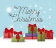 christmas card with set gifts