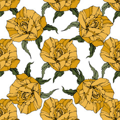 Vector rose flower. Yellow color engraved ink art. Seamless background pattern. Fabric wallpaper print texture.