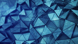Layered blue glossy low poly mesh with grunge texture 3D render