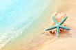 Quadro Starfish on the summer beach. Summer background. Tropical sand beach