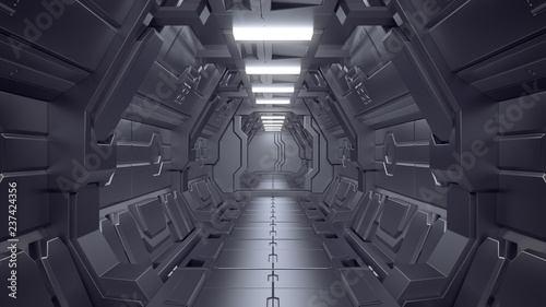Science fiction interior scene - sci-fi corridor 3d illustrations
