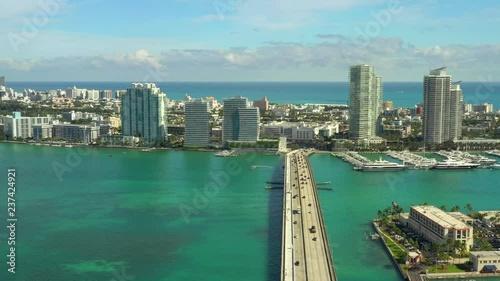 Fototapeta Aerial bridge to Miami Beach
