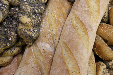 bread in the bakery with fragrant loaves and baguettes