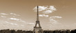 Eiffel Tower in Paris France with sepia effect seen from Hill of