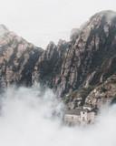 Fog Rising in the Montserrat Mountains in Spain, Near Barcelona