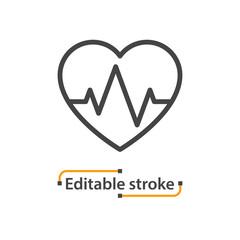 Heart rate line icon, heartbeat illustration. Editable stroke.