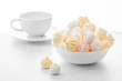 sweet marshmallows in a cup, delicious dessert, on a white background