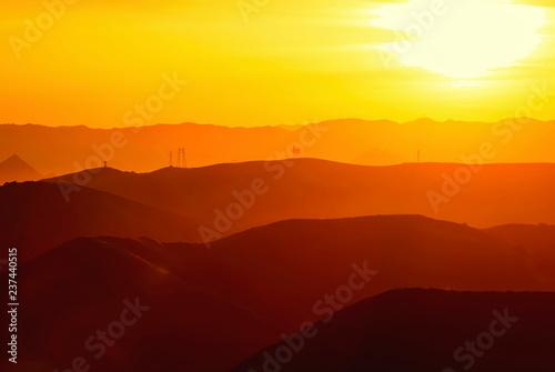 fototapeta na ścianę Layered Mountains at Sunrise in California