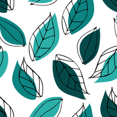 Seamless pattern with green leaves. Outline hand drawn art. © Anastasiia Komarova