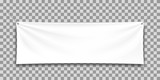 White mock up textile banner, isolated.